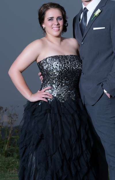 Matric dance dress with tulle frills & sequined bodice
