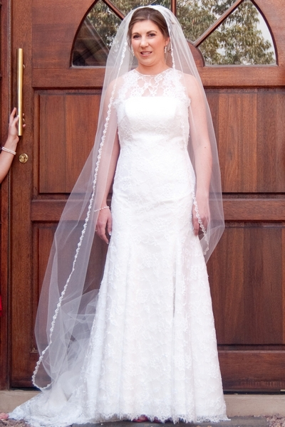 Lace mermaid style wedding dress with illusion neckline