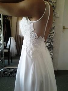 Chiffon Wedding Dress, Classic Wedding Dress, Wedding Dress with Low Back, Vintage Wedding Dress