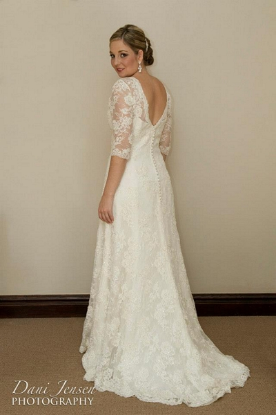 Vintage Lace Wedding Dress, Wedding Dress with Lace Sleeves, Classic Lace Wedding Dress
