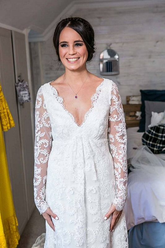 Vintage Wedding Dress, Wedding Dress with Lace Sleeves, Lace Wedding Dress, Wedding Dress with Empire Style