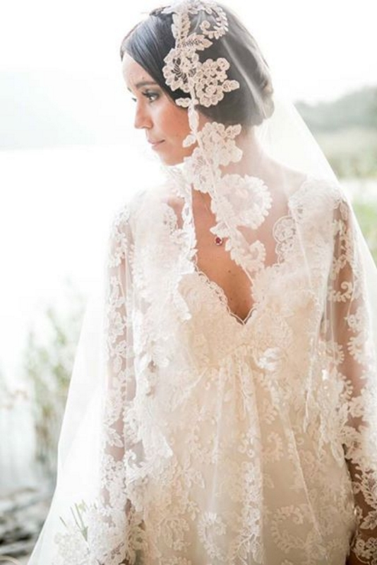 Vintage Wedding Dress, Wedding Dress with Lace Sleeves, Lace Wedding Dress, Wedding Dress with Empire Style, Lace Veil, Lace Edged Veil, Vintage Veil