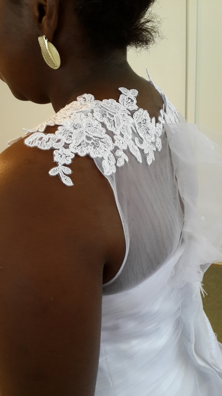 White wedding dress, white wedding dress with dropped waist, white wedding dress with lace appliques