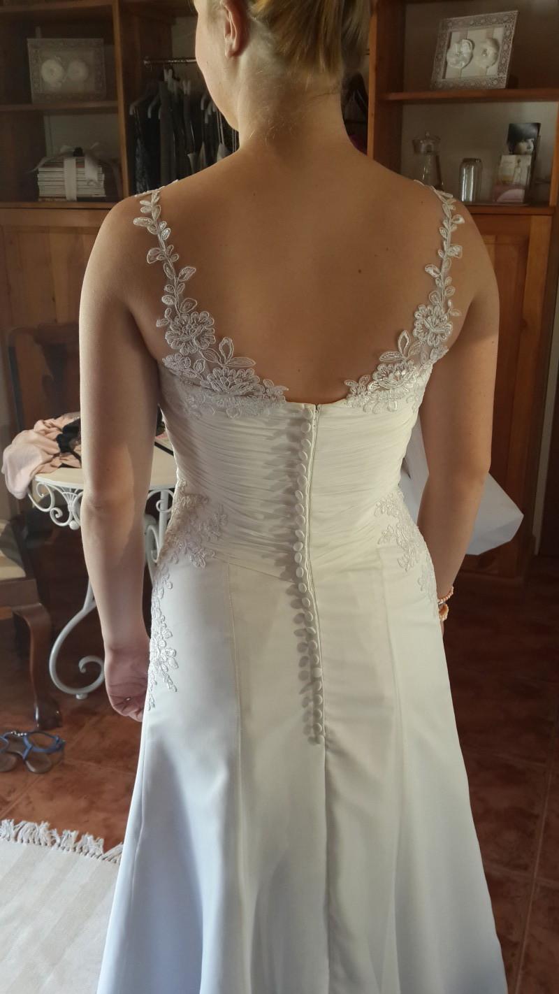 White chiffon wedding dress, Chiffon wedding dress, Wedding dress with lace straps, Wedding dress with ruching and lace straps